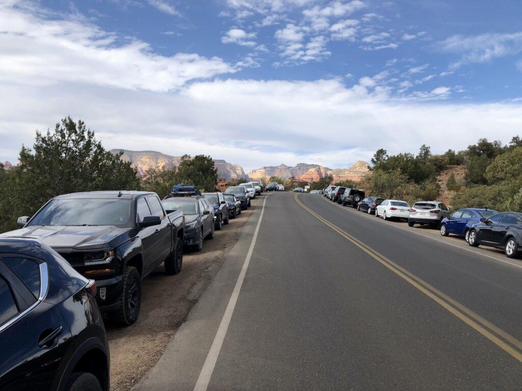 Overflow parking at the Devil's Bridge.