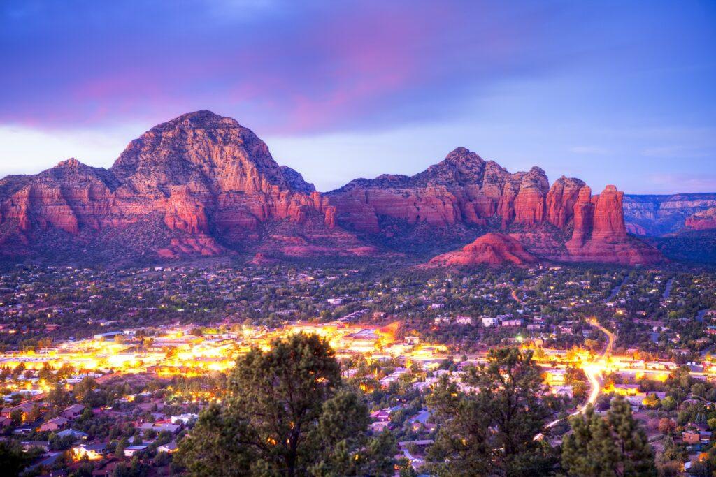 Overlooking Sedona, Arizona, at sunset.