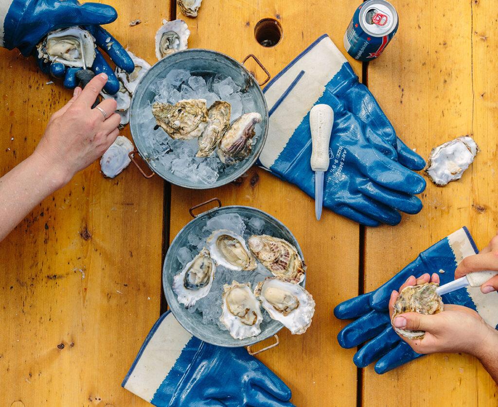 Oysters from the Westcott Bay Shellfish Company.