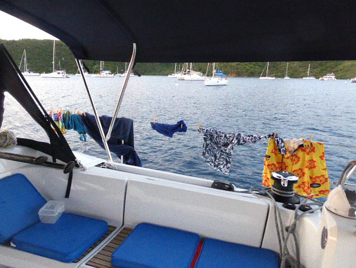 packing tips for sailing adventures like using a clothesline on the boat