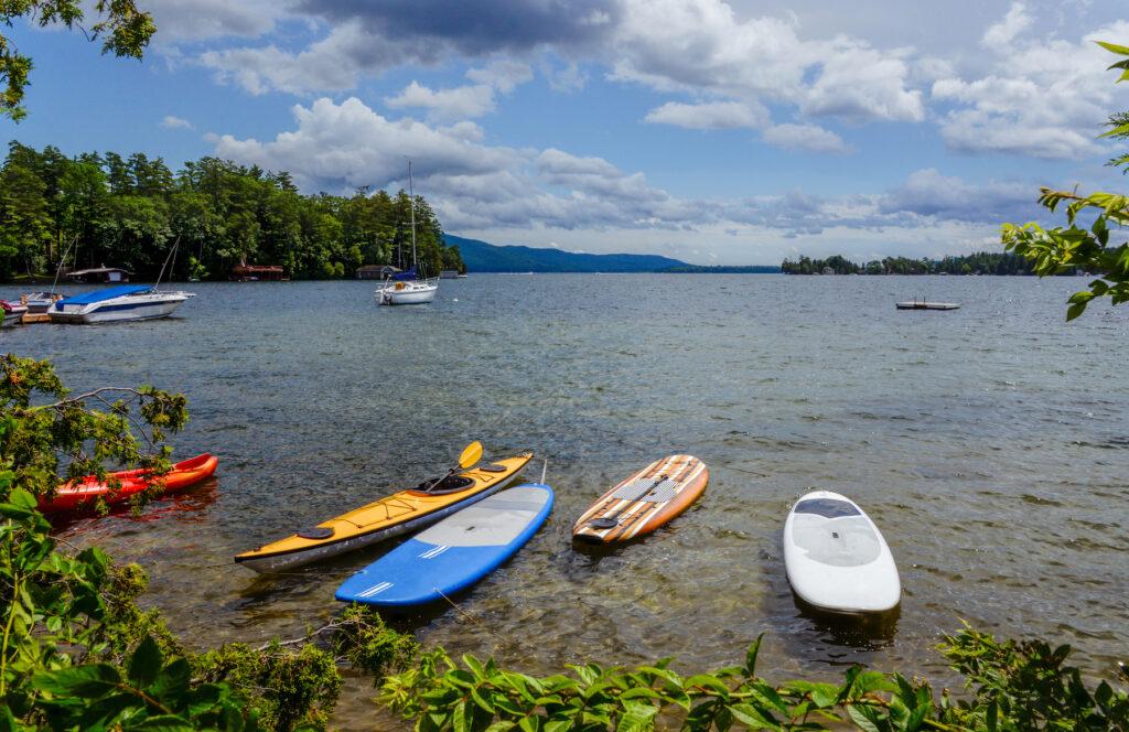 Paddle boats and kayaks on Lake George.