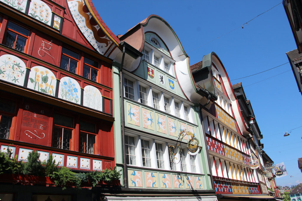 Painted facades on the buildings in Appenzell, Switzerland.