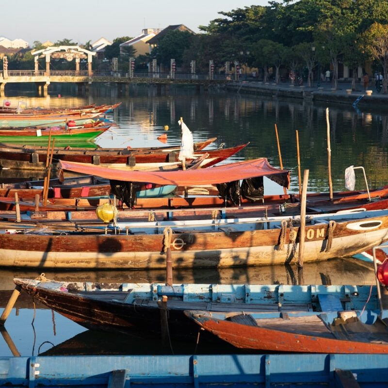Painted fishing boats in Hoi An, Vietnam.