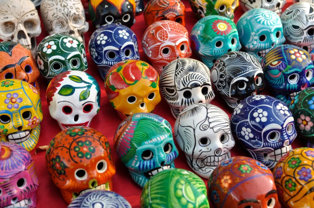 Painted skulls for sale in Chichen Itza.