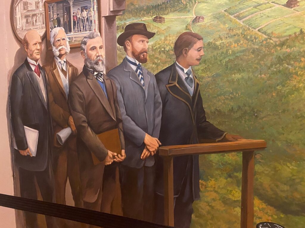 Painting of Rugby, Tennessee, history.