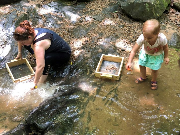 Panning for gems at Emerald Hollow Mine.