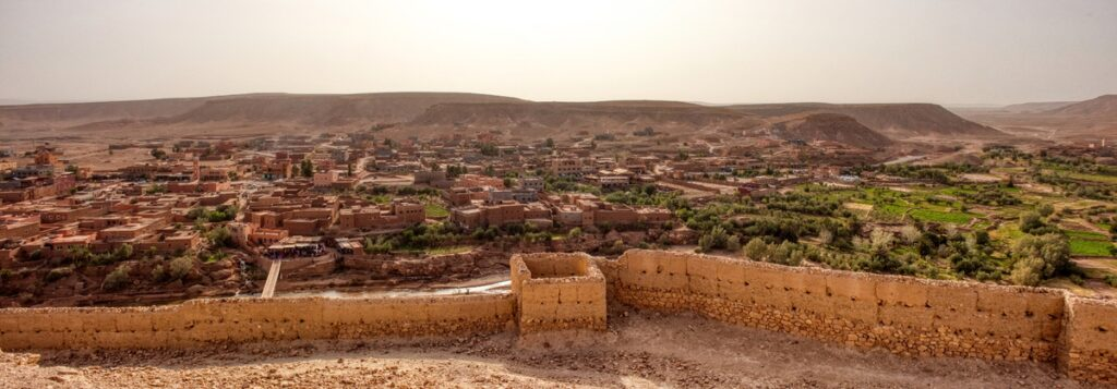 Panorama of Ait Ben Haddou in Morocco.