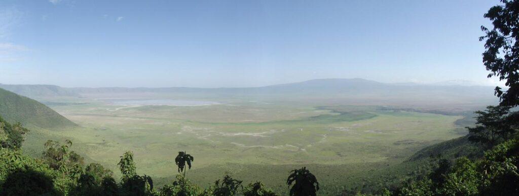 Panoramic view of the Ngorongoro Crater in Tanzania.