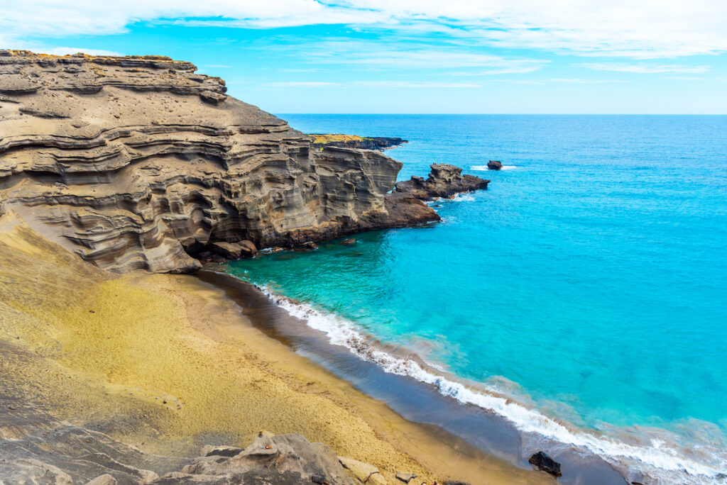 Papakolea Beach, a green sand beach in Hawaii.
