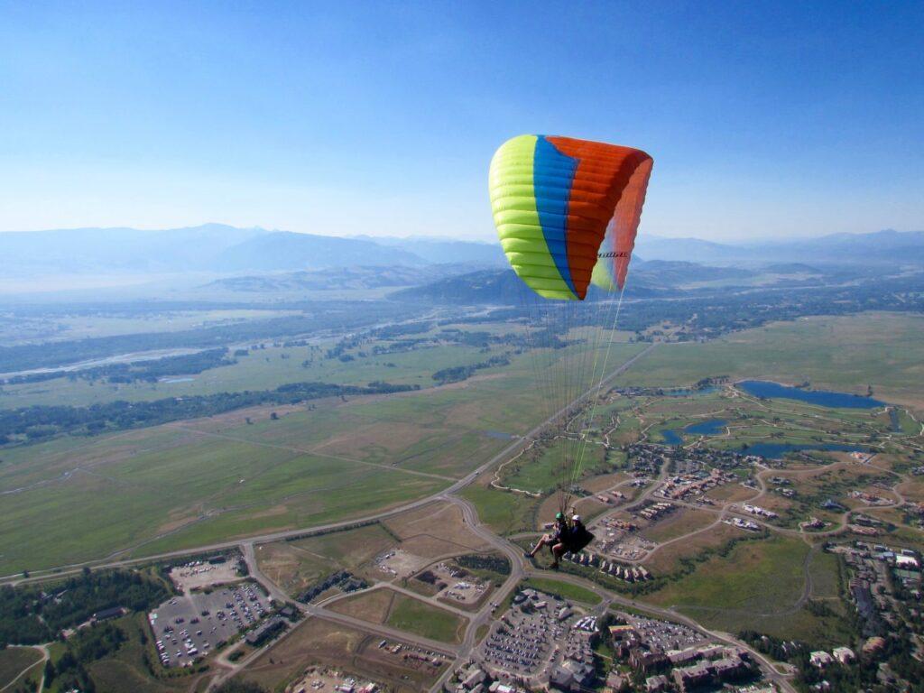 Paragliding over Jackson Hole.