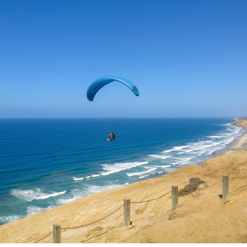 Paragliding over La Jolla with Torrey Pines Gliderport.