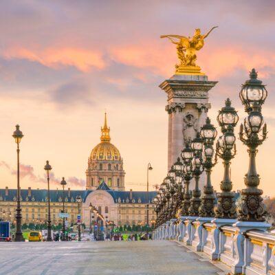 Paris, France, at sunset.