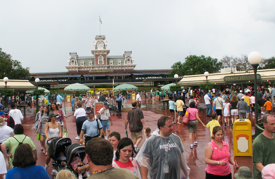 Park guests in the rain.