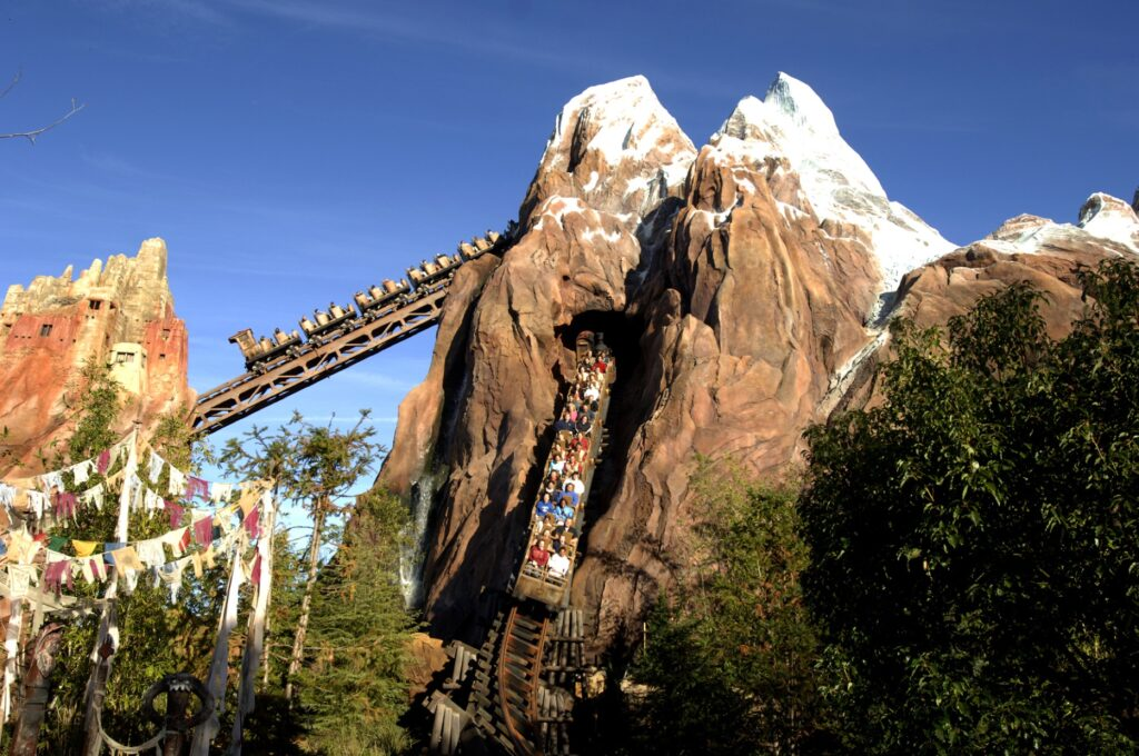 Park guests on the Expedition Everest ride.