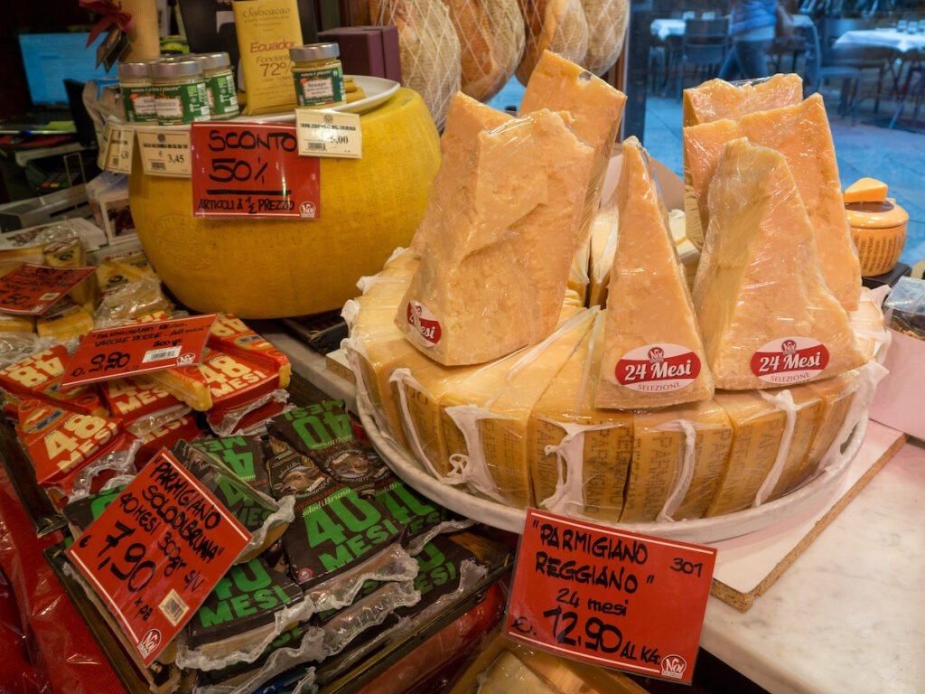 Parmesan cheese for sale in Parma, Italy.