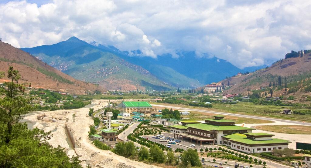 Paro International Airport in Paro, Bhutan.
