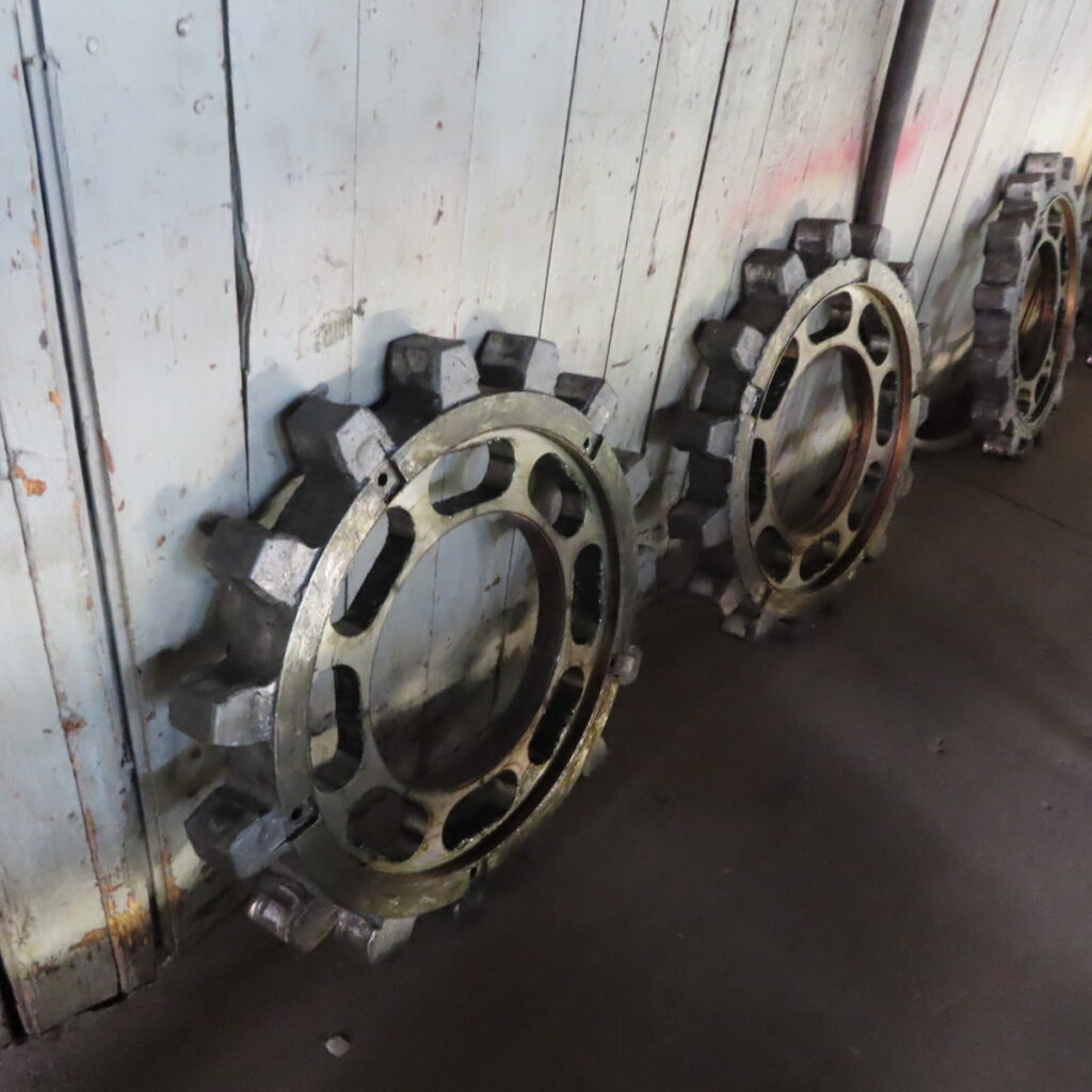 Parts from a refurbished train car at Pikes Peak Cog Railway.