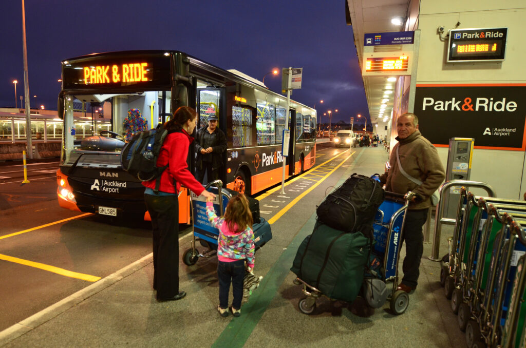 Passengers boarding an Auckland Airport Park and Ride Bus