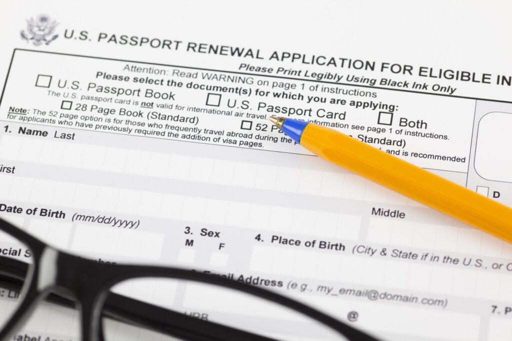 Passport renewal documents.