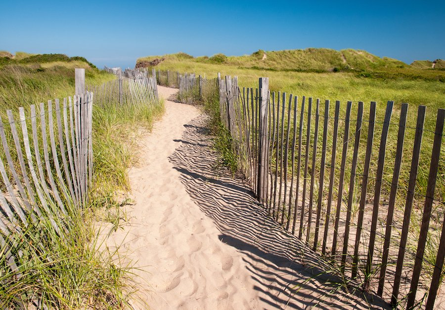 Pathway to Crescent Beach on Block Island.