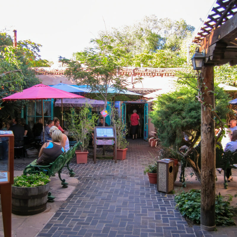 Patio seating at The Shed in Santa Fe.