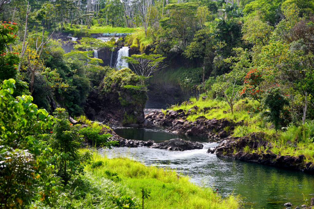 Pe'epe'e Falls at Wailuku River State Park in Hilo, Hawaii.