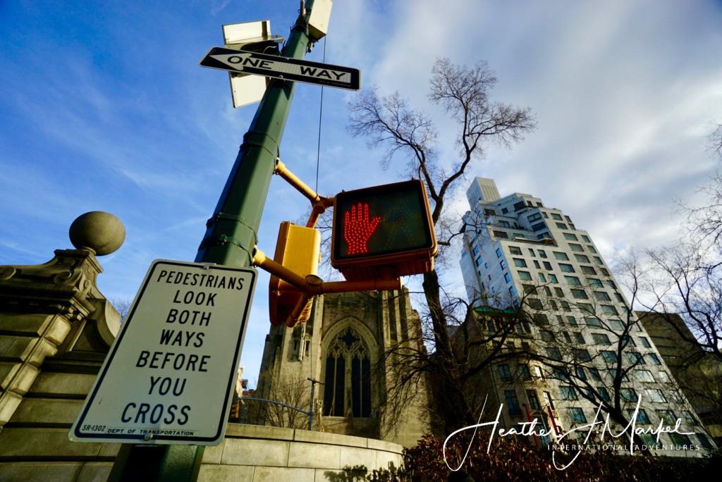 Pedestrian signs in Manhattan.