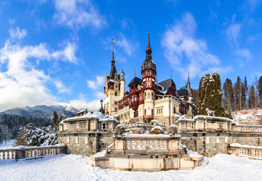 Peles Castle in Romania during winter.