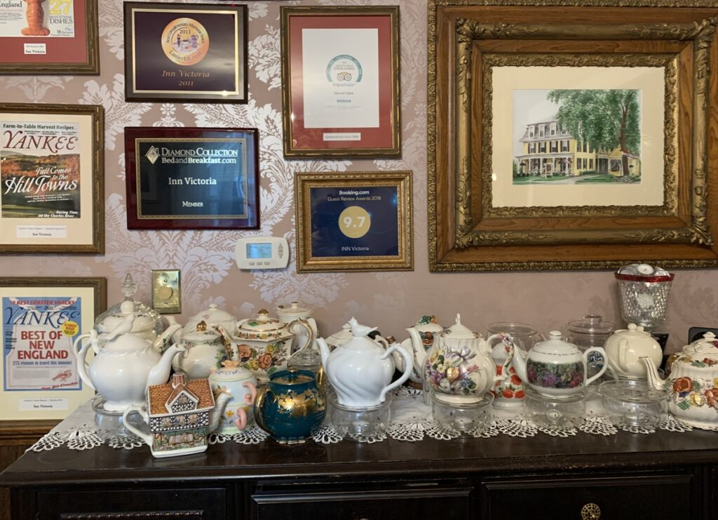 Penny's teapot collection at the Inn Victoria.