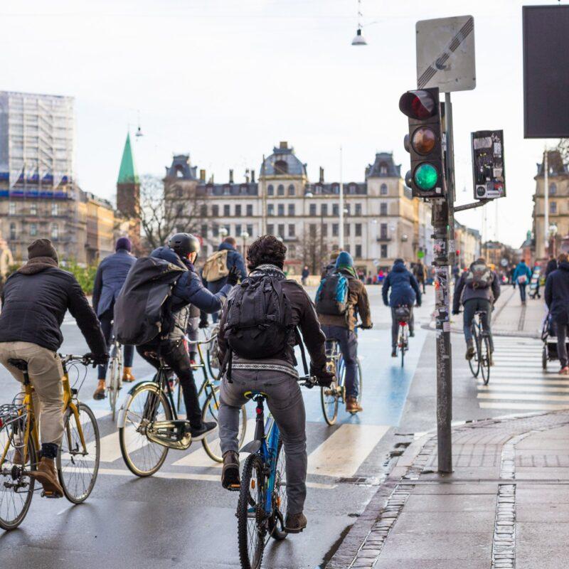 people biking in Copenhagen