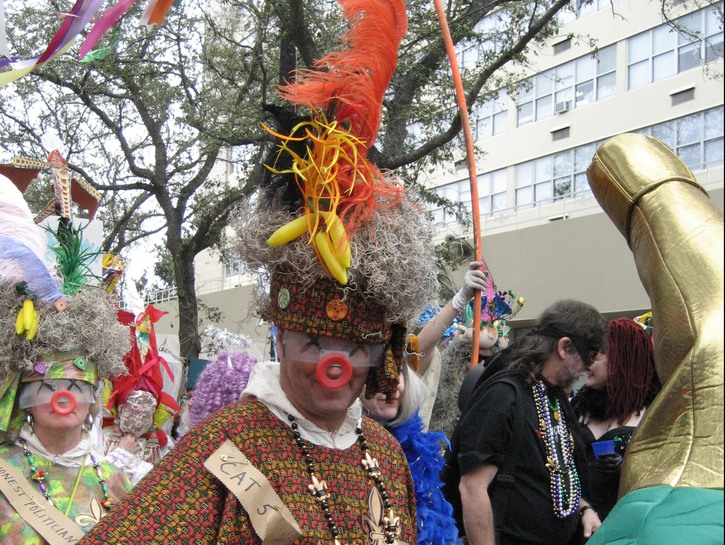 People dressed in outlandish costumes, Halloween in New Orleans.
