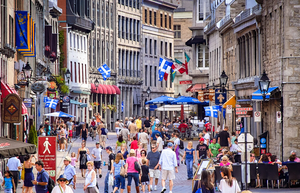 People exploring downtown Montreal.