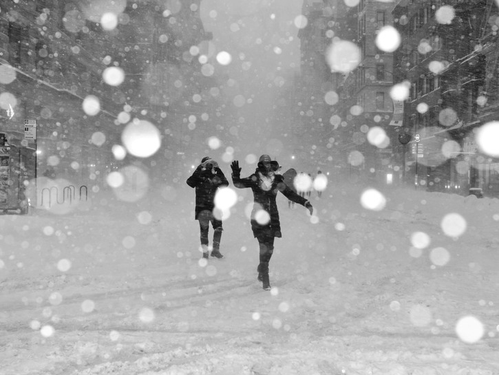 People in a blizzard