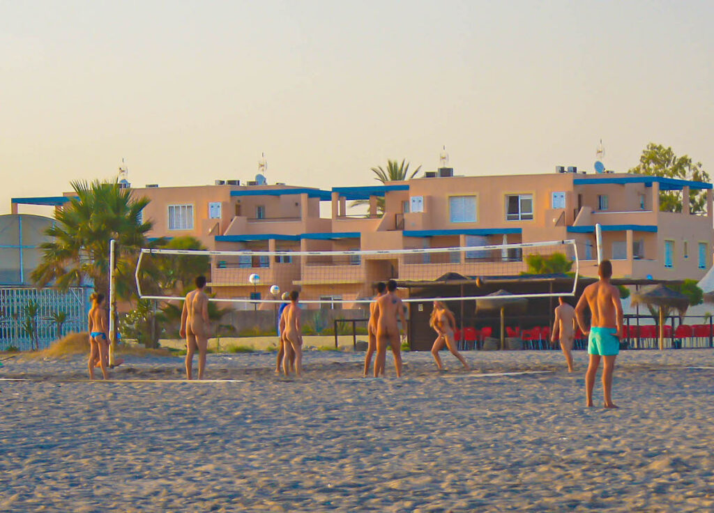 People playing volleyball at Vera Playa in Spain.