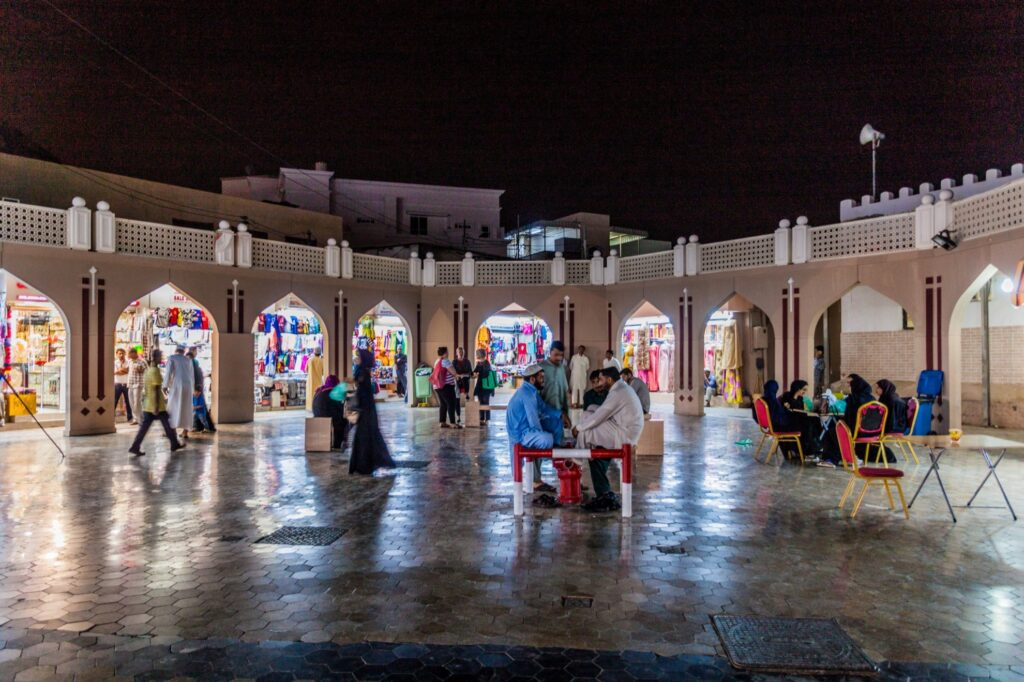 People shopping in Muscat, Oman.