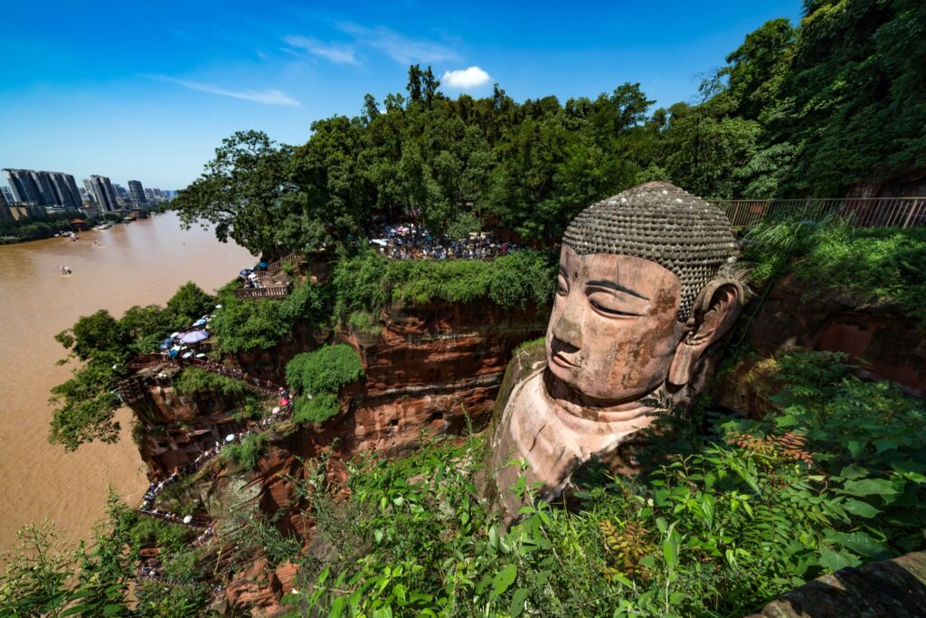 People viewing the Leshan Giant Buddha.