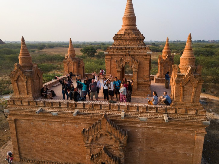 People waiting at a temple for the hot air balloons, Bagan, Myanmar