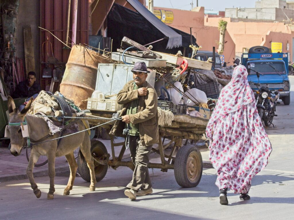 People walking the streets of Guelmim, Morocco.