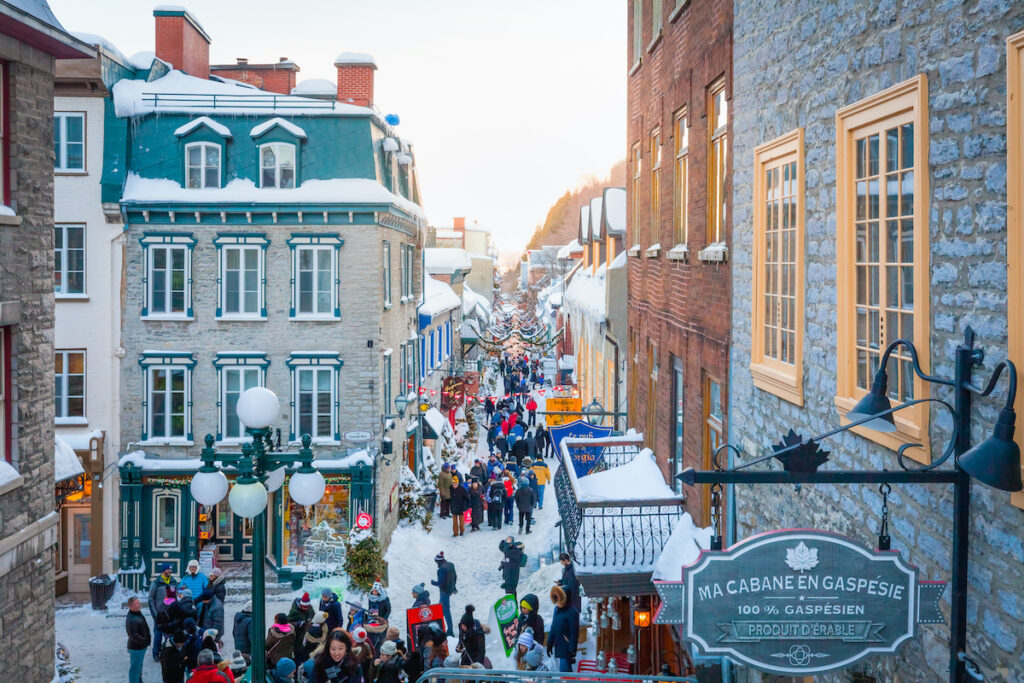 Petit Champlain street in Old Quebec City during winter.