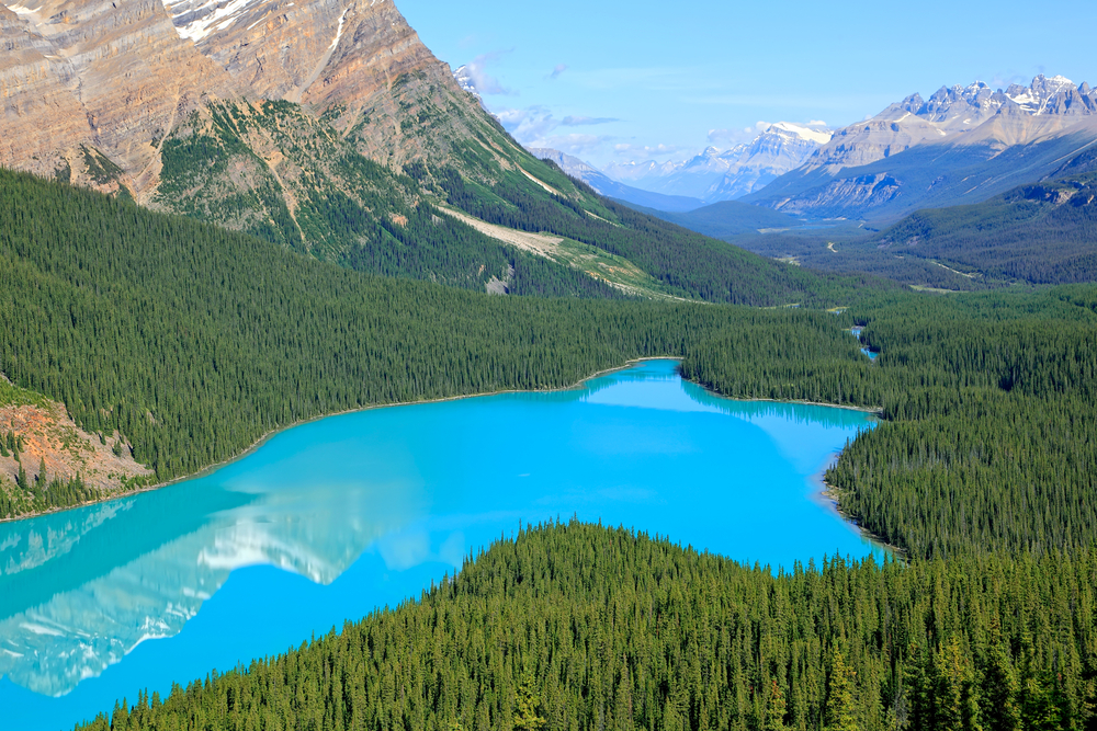 Peyto Lake's striking turquoise hue.