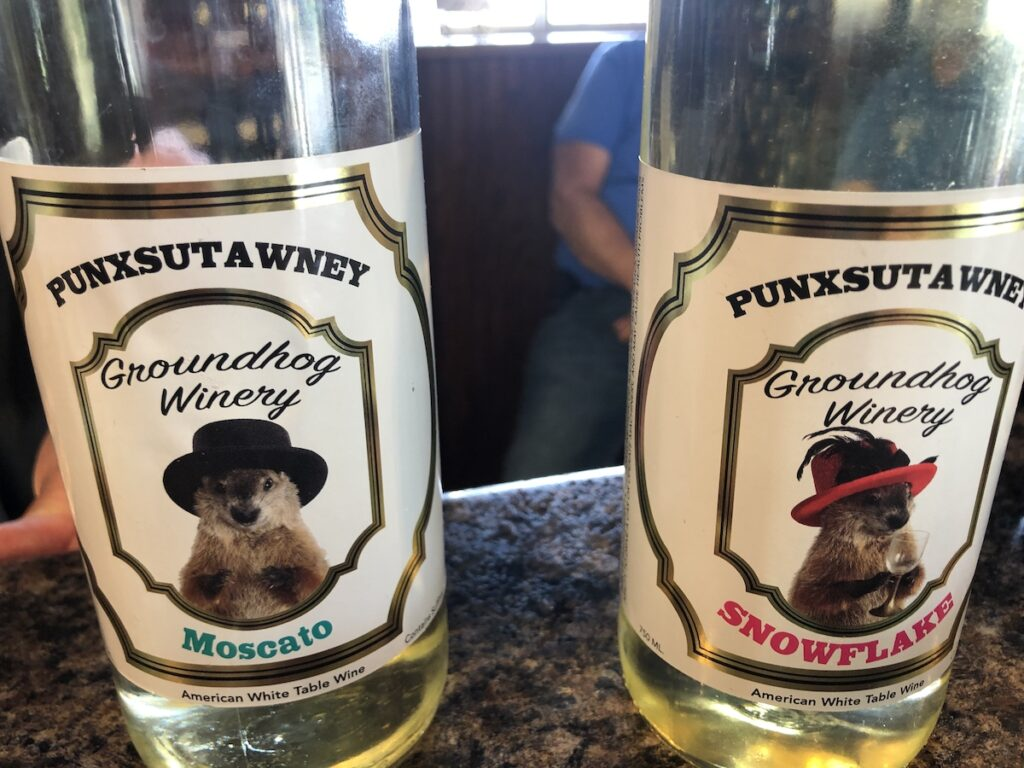 Phil's cousins on the bottles at Groundhog Winery.
