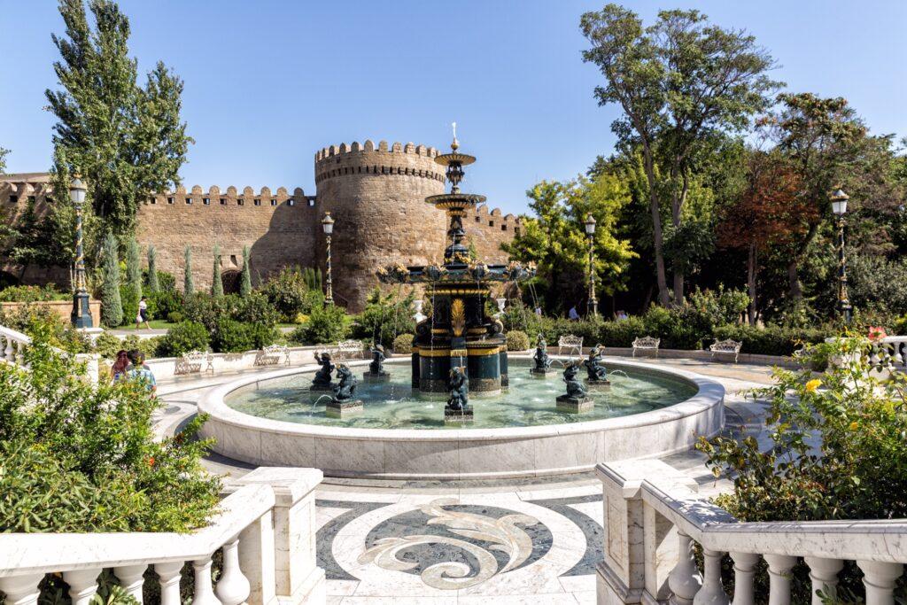 Philharmonic Fountain Park near old town Baku.
