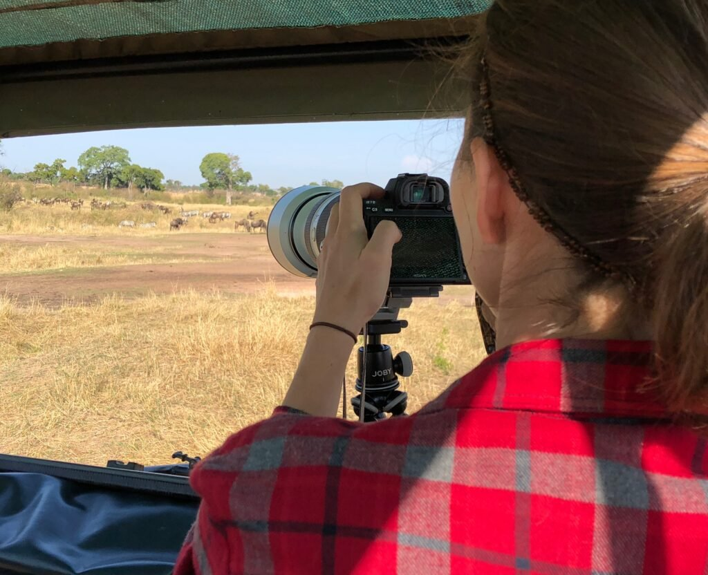 Photographing in the Serengeti.