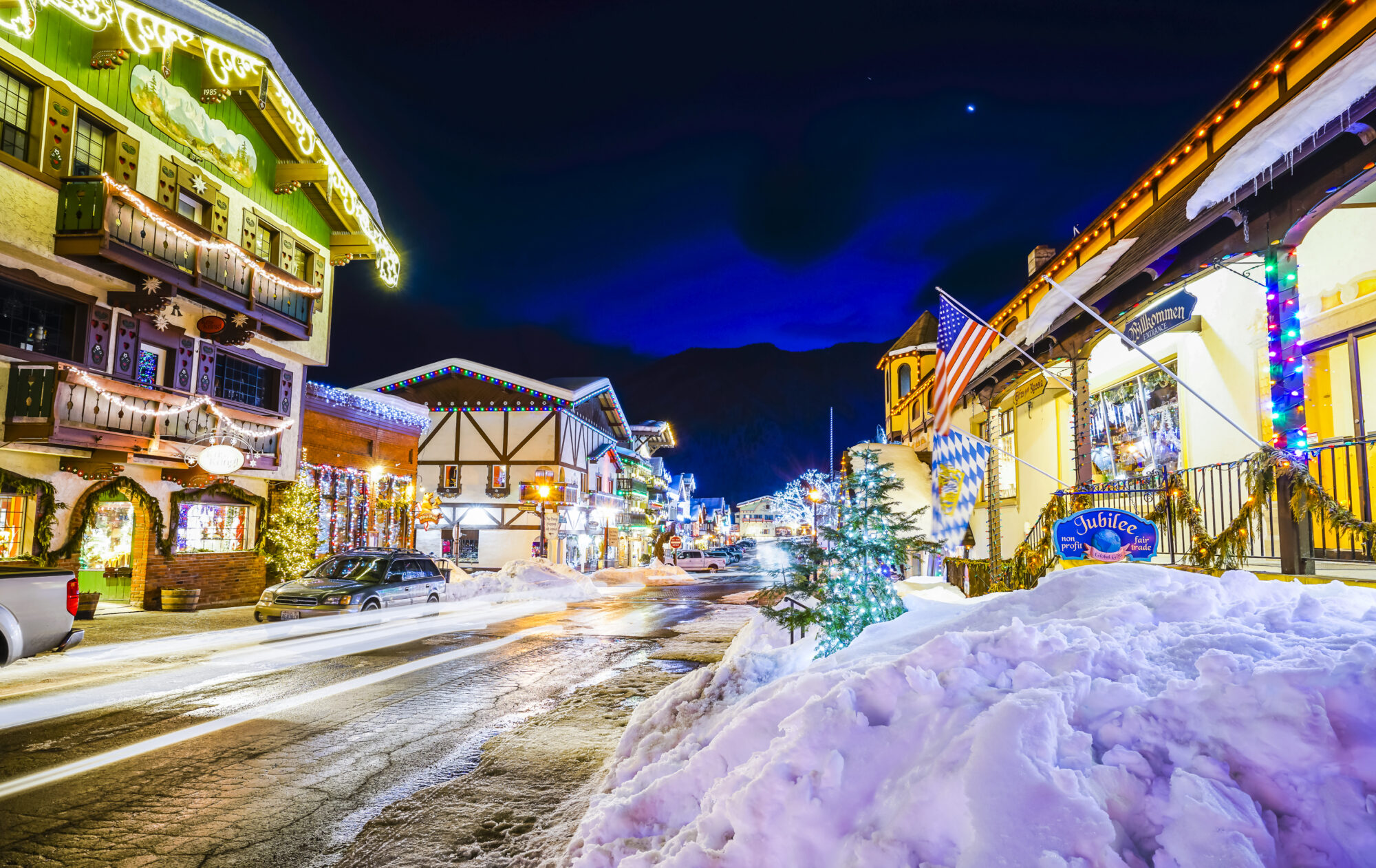 picturesque town in winter decorated for Christmas