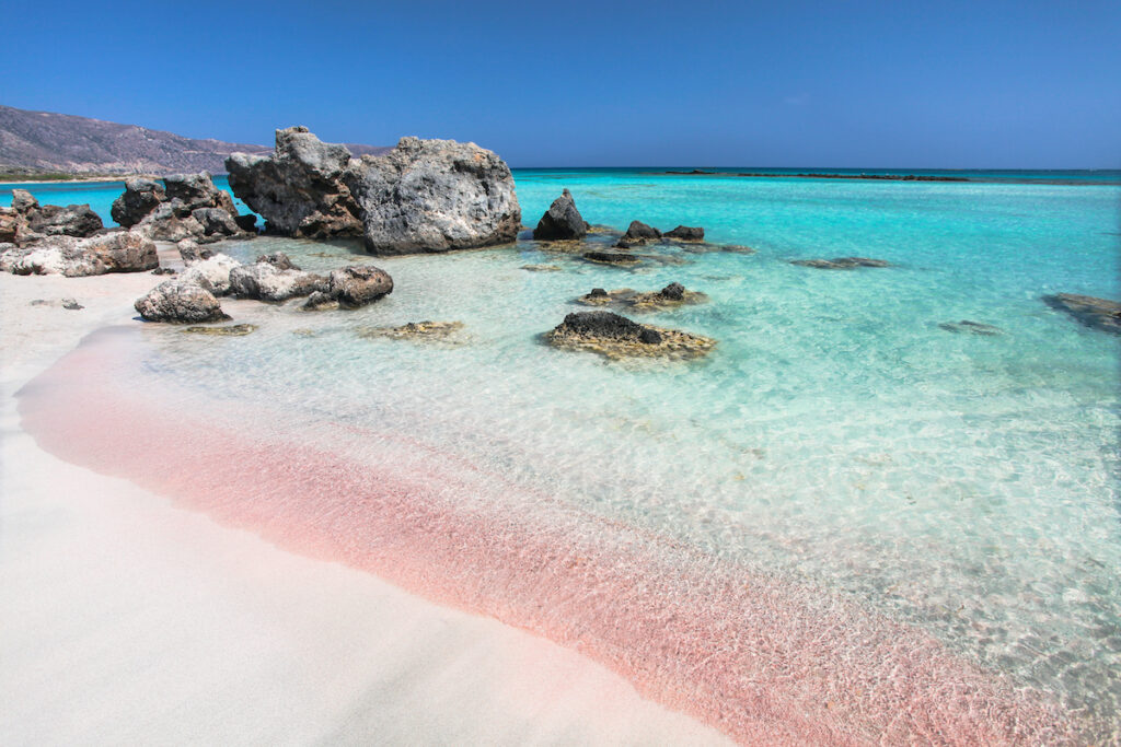 Pink sand at Elafonisi in Crete, Greece.