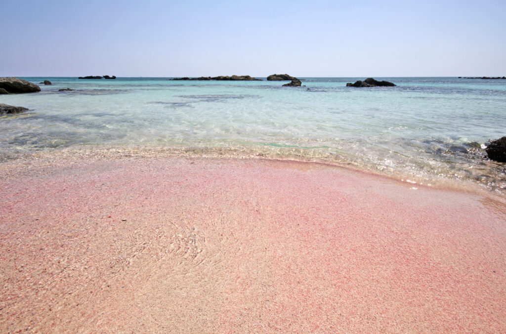 Pink sands at Elafonisi Beach in Crete.