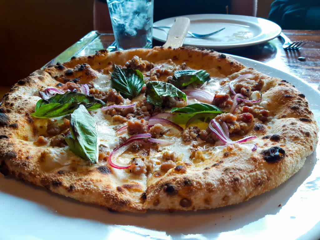 Pizza from Vingenzo's in Woodstock, Georgia.