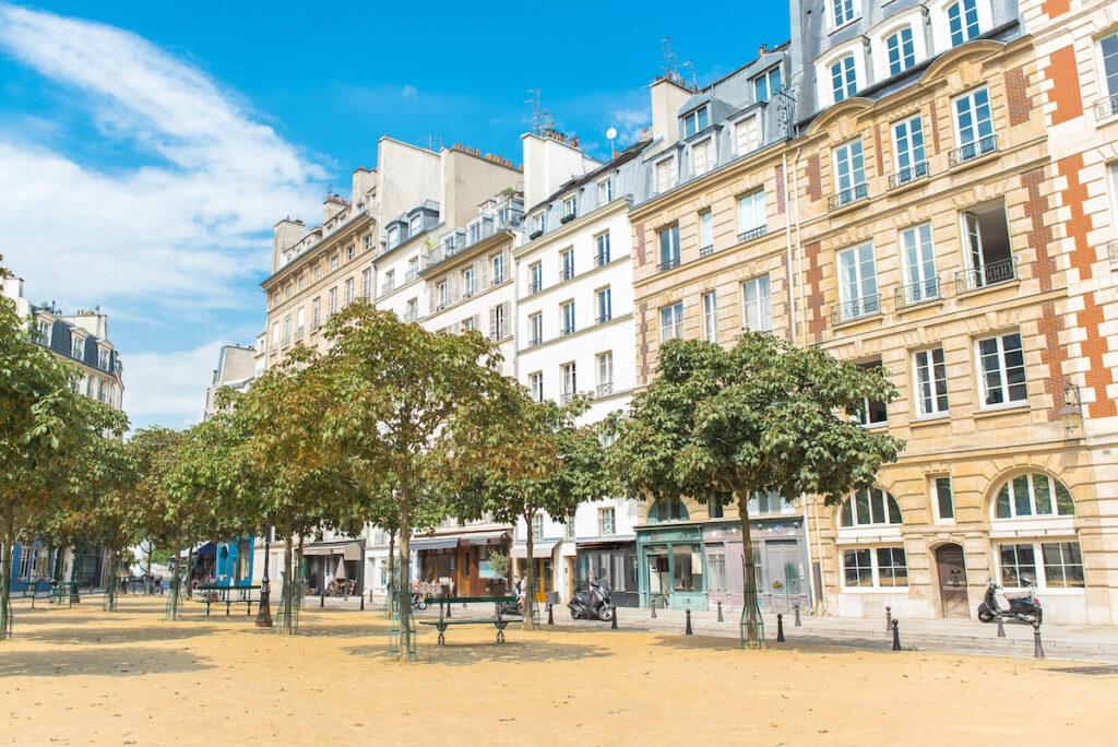 Place Dauphine in Paris, France.