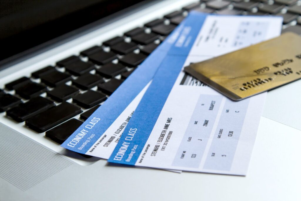Plane tickets and a credit card.