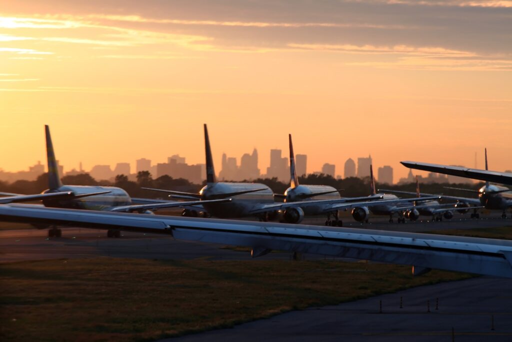 Planes waiting to take off at JFK Airport.